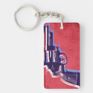 Magnum Revolver on Red Double-Sided Rectangular Acrylic Keychain