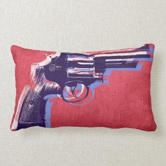 Magnum Revolver on Red Lumbar Pillow