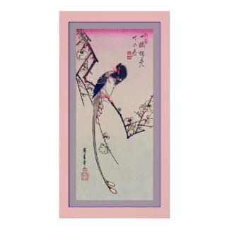 Magpie and Plum Blossoms  ~ Vintage Japanese Poster