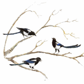 Magpie Family  Bird, Wildlife, Nature, Ornament Standing Photo Sculpture