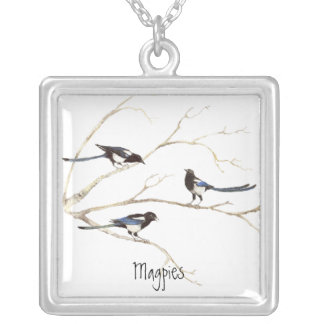 Magpie Family to Customize, Bird Collection Silver Plated Necklace