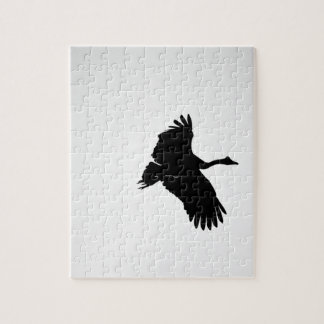 MAGPIE GEESE IN FLIGHT SILHOUETTE AUSTRALIA JIGSAW PUZZLE