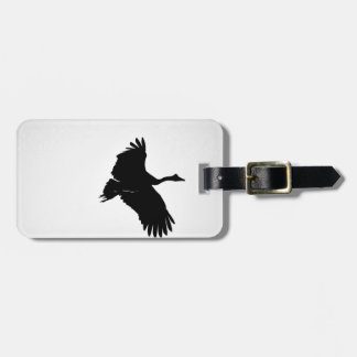 MAGPIE GEESE IN FLIGHT SILHOUETTE AUSTRALIA LUGGAGE TAG