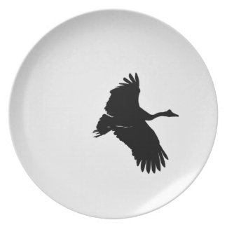 MAGPIE GEESE IN FLIGHT SILHOUETTE AUSTRALIA PLATE