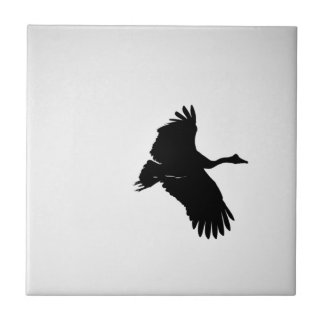 MAGPIE GEESE IN FLIGHT SILHOUETTE AUSTRALIA TILE