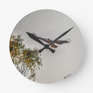MAGPIE GOOSE AUSTRALIA ART EFFECTS ROUND CLOCK