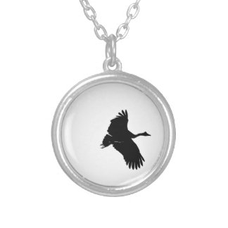 MAGPIE GOOSE SILHOUETTE QUEENSLAND AUSTRALIA SILVER PLATED NECKLACE