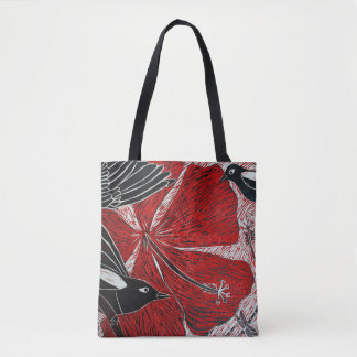 Magpies and Hibiscus Tote Bag