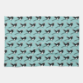 Magpies Tea Towel blue
