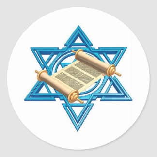 Maguen David Torah Round Sticker