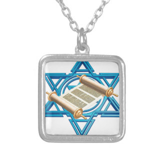 Maguen David Torah Silver Plated Necklace