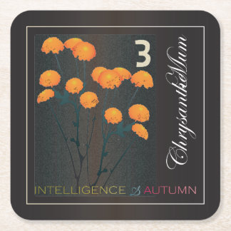 Mah Jongg Autumn Square Paper Coaster