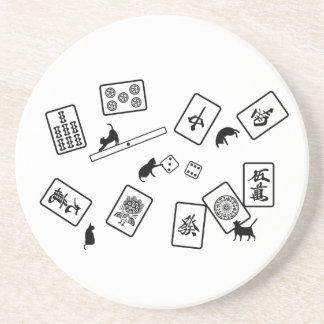 Mah-jongg cat mahjong cat coaster