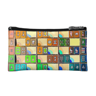 Mah Jongg Colored Tiles Small Cosmetic Bag