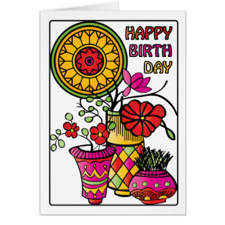 Mah Jongg Flowers 01 Birthday Card
