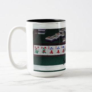 mah jongg is serious mug! Two-Tone coffee mug