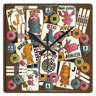 Mah Jongg Jokers Square Wall Clock