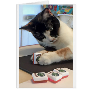 Mah Jongg Notecard  Joker Cat