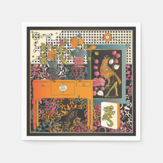 Mah Jongg Orange Table Paper Napkins