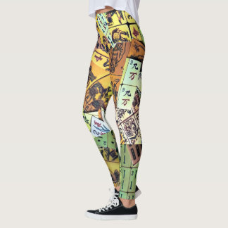 Mah Jongg Vintage Tiles Leggings