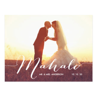Mahalo 2 Photo Wedding Thank You Postcard