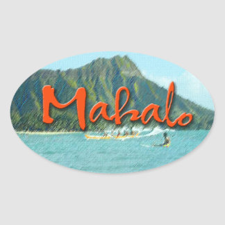 Mahalo Diamond Head Oval Sticker