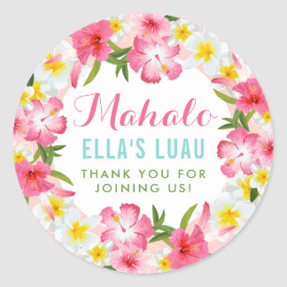 Mahalo Thank You  | Tropical Lei Flowers Classic Round Sticker