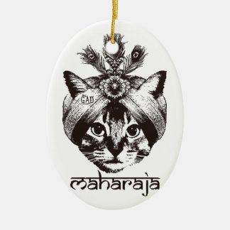 Maharaja Cat Ceramic Oval Ornament