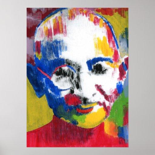 Mahatma Gandhi artwork face of colors Posters