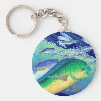 Mahi Mahi (Dolphin Fish) chasing Flying Fish Basic Round Button Keychain