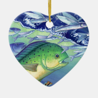 Mahi Mahi (Dolphin Fish) chasing Flying Fish Ceramic Ornament