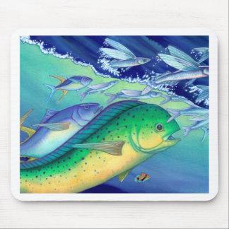 Mahi Mahi (Dolphin Fish) chasing Flying Fish Mouse Pad