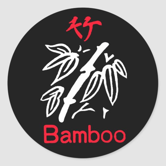 Mahjong Bamboo Suit, Red and White on Black Classic Round Sticker