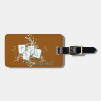mahjong blue luggage tag