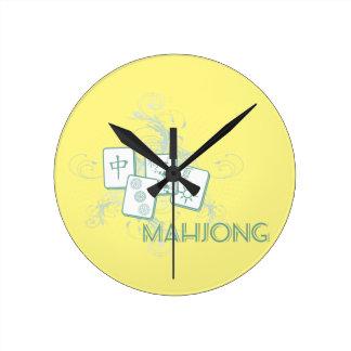 mahjong blue round clock