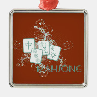 mahjong blue Silver-Colored square ornament