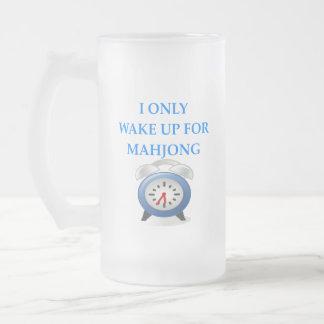 MAHJONG FROSTED GLASS BEER MUG