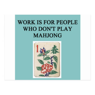 mahjong game player postcard