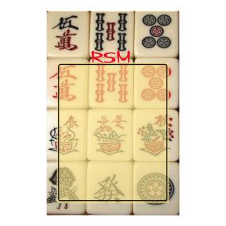 Mahjong monogram customized stationery