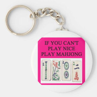 MAHJONG player Basic Round Button Keychain
