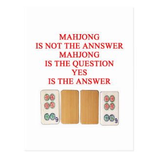 mahjong player design postcard