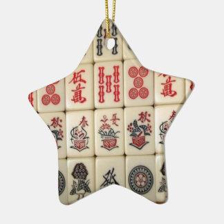 Mahjong tiles and Panda monogrammed Ceramic Ornament