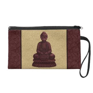 Mahogany Buddha Pixel Art Wristlet Clutch
