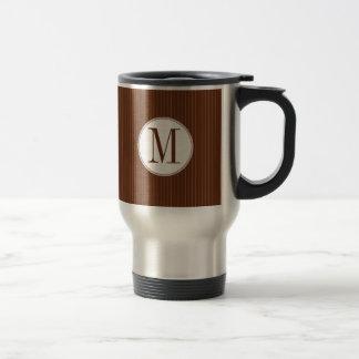 Mahogany Pinstripe Single Monogram Mug