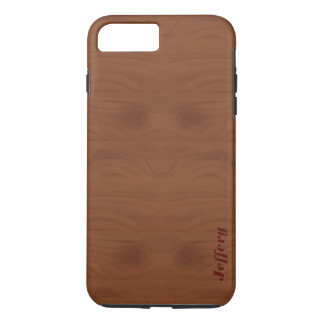 Mahogany Red Wood Grain Illustration Monogram iPhone 7 Plus Case