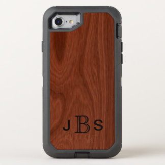 Mahogany Wood Grain Look | Monogrammed Initials OtterBox Defender iPhone 8/7 Case