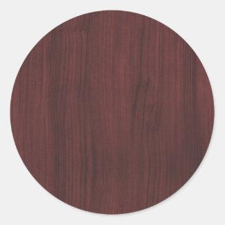 Mahogany wood texture classic round sticker