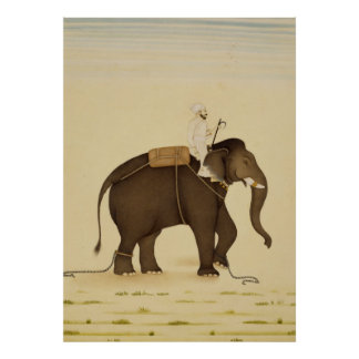 Mahout Riding an Elephant Painting (18th Century) Poster