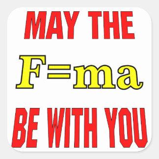 Mai le F=ma soit avec vous force = x de masse Sticker Carré