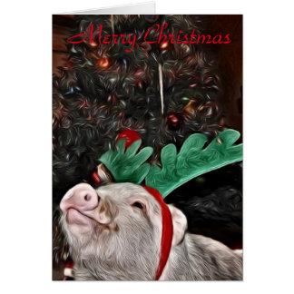 Mai l'esprit de Noël, carte de voeux de porc